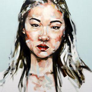 Blue Rain Portrait Painting