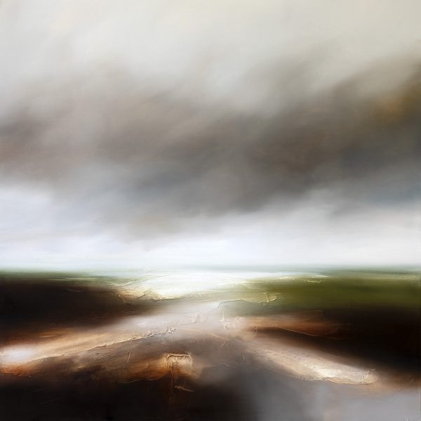Grey Dawn Seascape and Landscape Painting