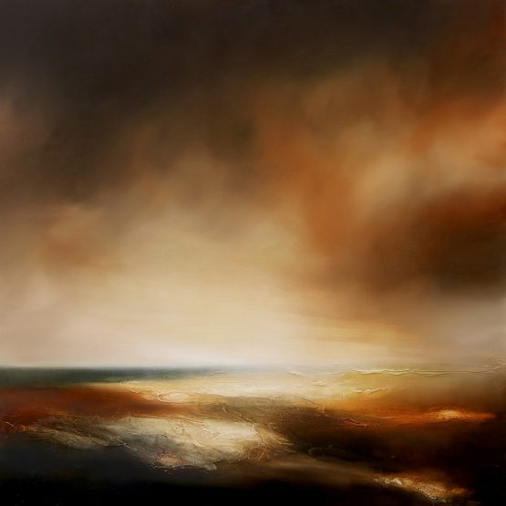 Scorched Skies Seascape and Landscape Painting